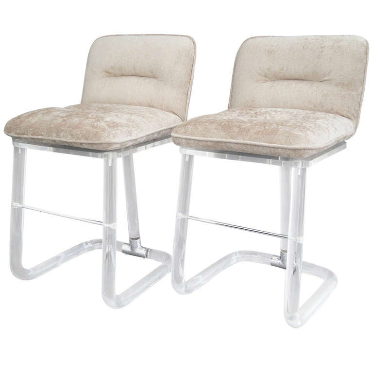 Pair Lion In Frost Lucite Counter Stools At 1stdibs