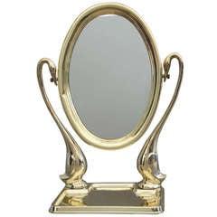 Polished Brass Swan Vanity Mirror