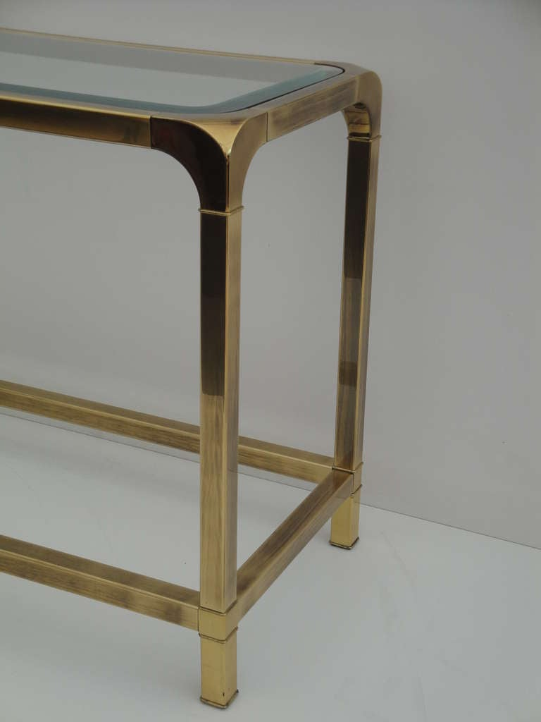 Mastercraft antique brass console sofa table at 1stdibs for Sofa table antique