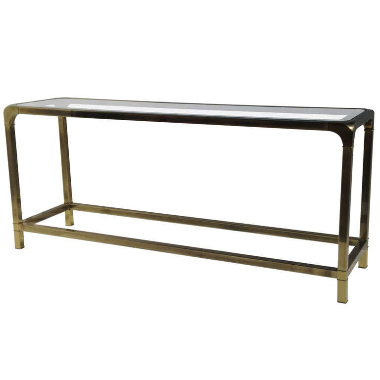 Mastercraft Antique Brass Console Sofa Table At 1stdibs