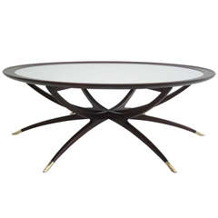 Mid Century Spider Leg Coffee Table with White Glass Top