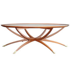 Mid-Century Spider Leg Teak Coffee Table with Clear Glass Top