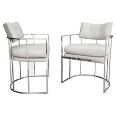Pair Chrome Lounge Armchairs Manner of Milo Baughman