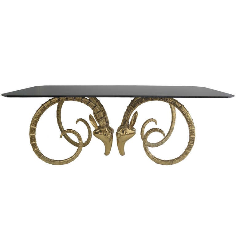 Brass Ibex Or Ram Head Desk / Dining Table Base Style Of