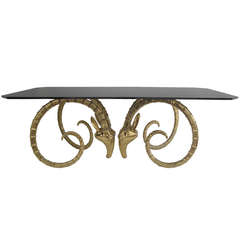 Brass Ibex or Ram Head Desk / Dining Table Base Style of Chervet