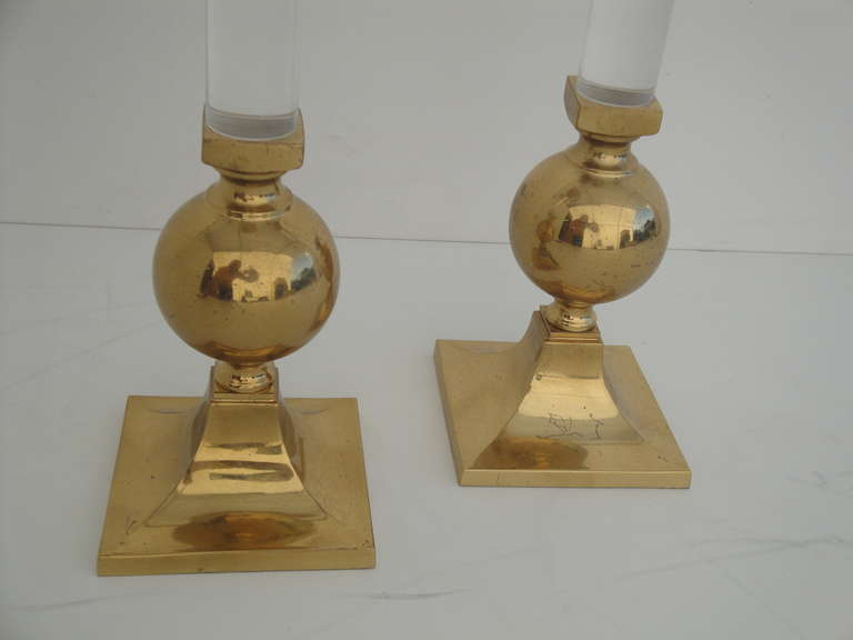 American Pair of Brass and Glass Candle Holders Style of Karl Springer For Sale