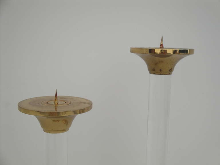 Pair of Brass and Glass Candle Holders Style of Karl Springer In Good Condition For Sale In North Hollywood, CA