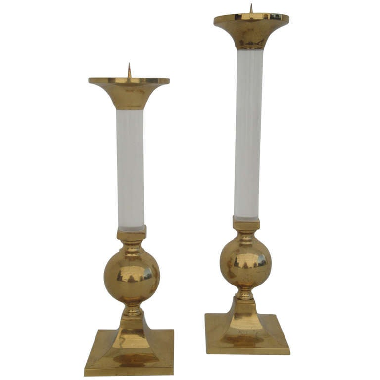Pair of Brass and Glass Candle Holders Style of Karl Springer For Sale