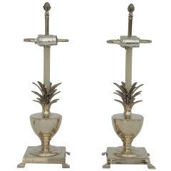Pair Brass Petite Pineapple Urn Lamps
