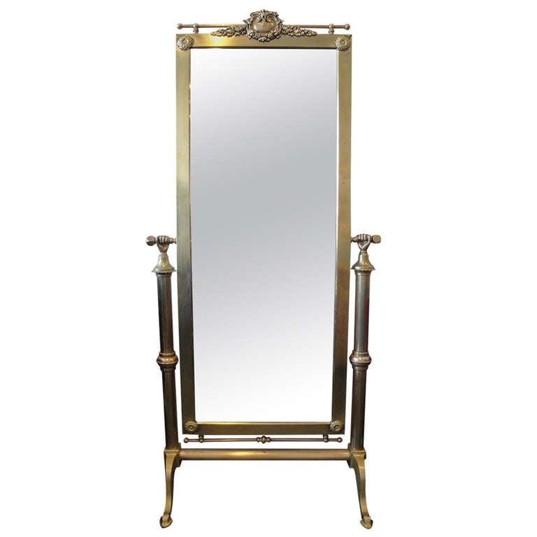 Hollywood Regency Brass Parisian Cheval Floor Mirror At
