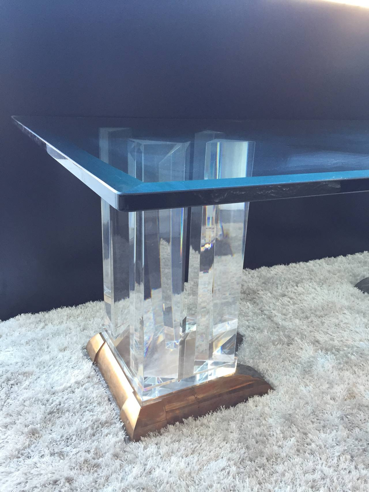 impressive bronze and lucite dining table base by jeffrey bigelow