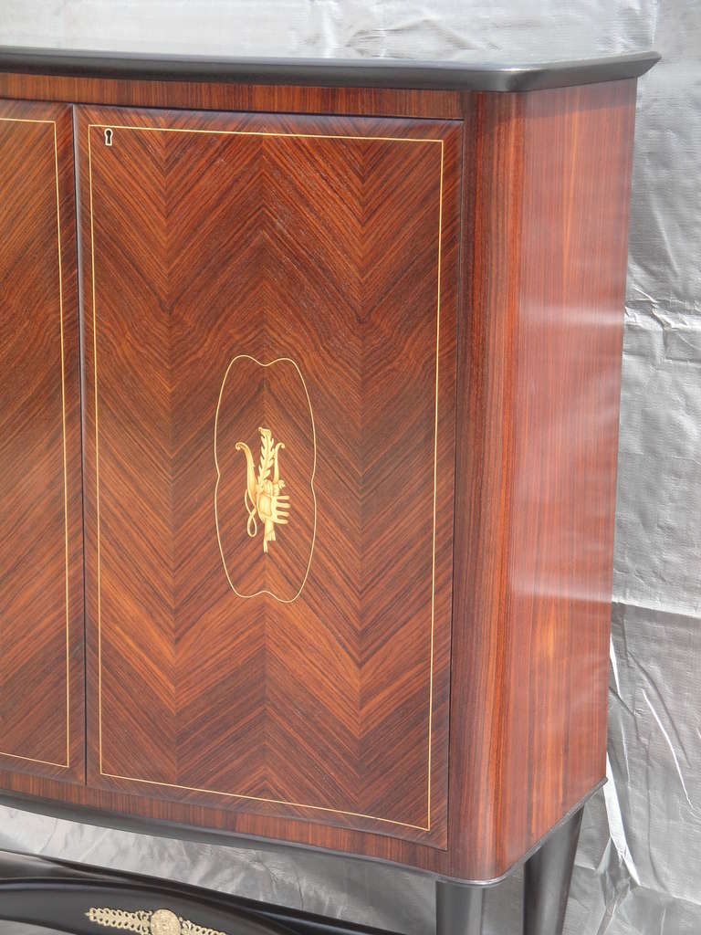 Rosewood Bar Cabinet Style of Paolo Buffa For Sale 2