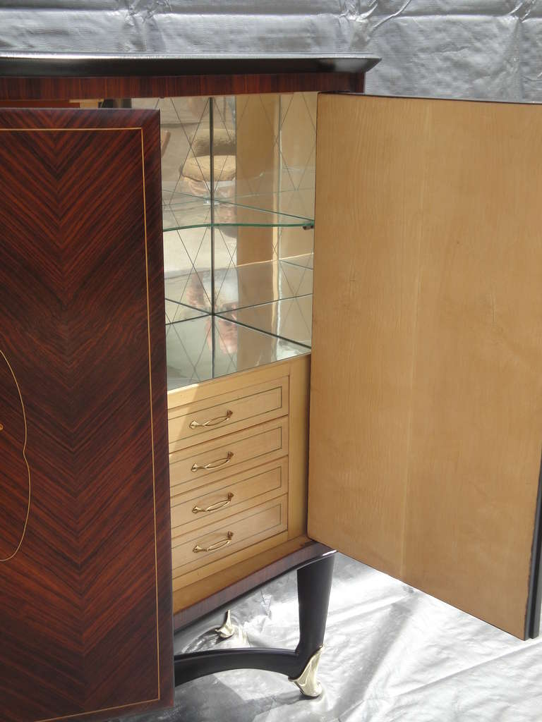 Rosewood Bar Cabinet Style of Paolo Buffa In Excellent Condition For Sale In North Hollywood, CA