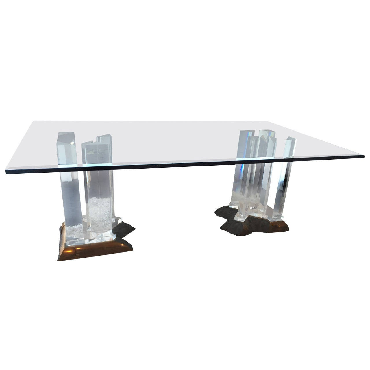 Impressive Bronze And Lucite Dining Table Base By Jeffrey