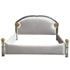 Brass and Lucite Queen-Bed by Marcello Mioni