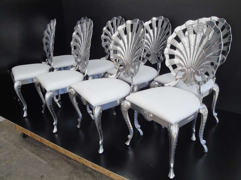 Set of Eight Polished Venetian Grotto Style Aluminum Shell Dining Chairs For Sale 4