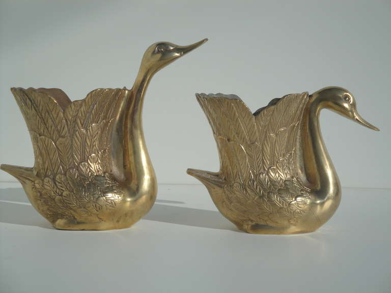 Beautiful pair of vintage brass swan petite planters at for Decorative crafts inc brass