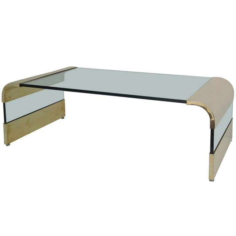 Leon Rosen Brass And Glass Waterfall Coffee Table By Pace At 1stdibs