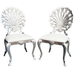 Set of Eight Polished Venetian Grotto Style Aluminum Shell Dining Chairs