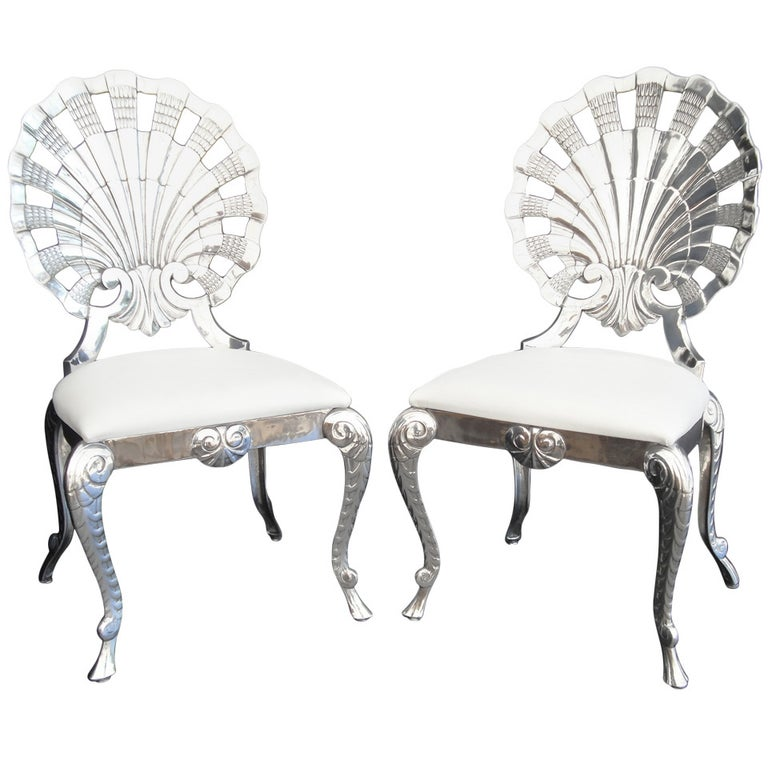 Set of Eight Polished Venetian Grotto Style Aluminum Shell Dining Chairs For Sale