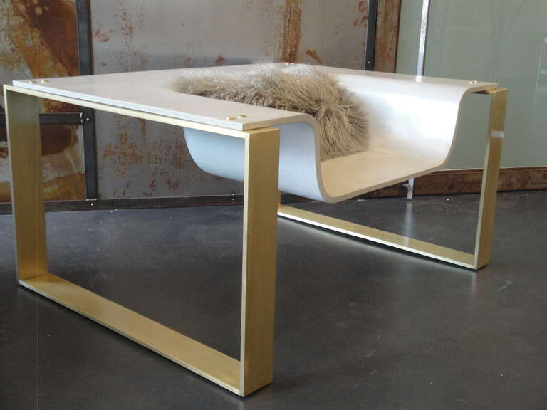 Great Pair Of Slick Sexy YSL Concrete Brass Lounge Chair 2