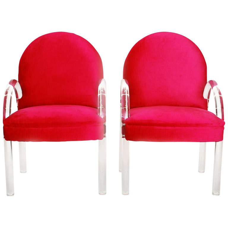 Gorgeous Pair Vintage Pace Collection Lucite Chairs