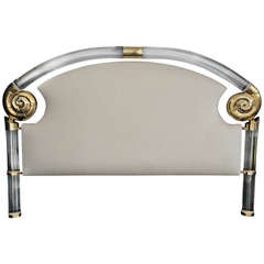 Glamorous Lucite and Brass Headboard by Marcello Mioni