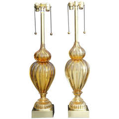 Pair of Golden Amber Murano Lamps by Marbro