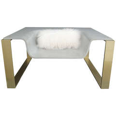 Pair of Concrete and Brass Lounge Chairs Made for YSL Boutiques