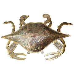 Los Castillo Abalone Shell and Gilt Brass Crab