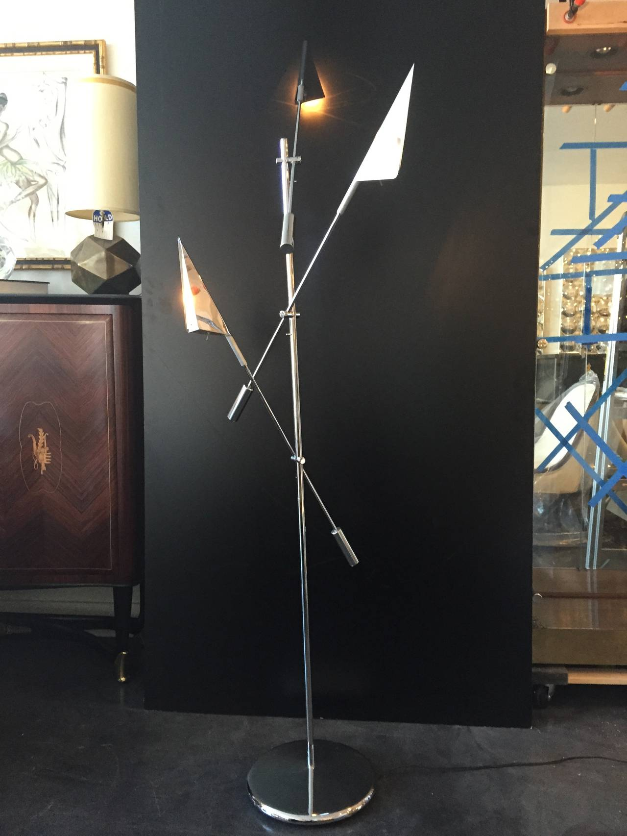 Chrome three arm floor lamp by Harry Allen for Kovacs lighting