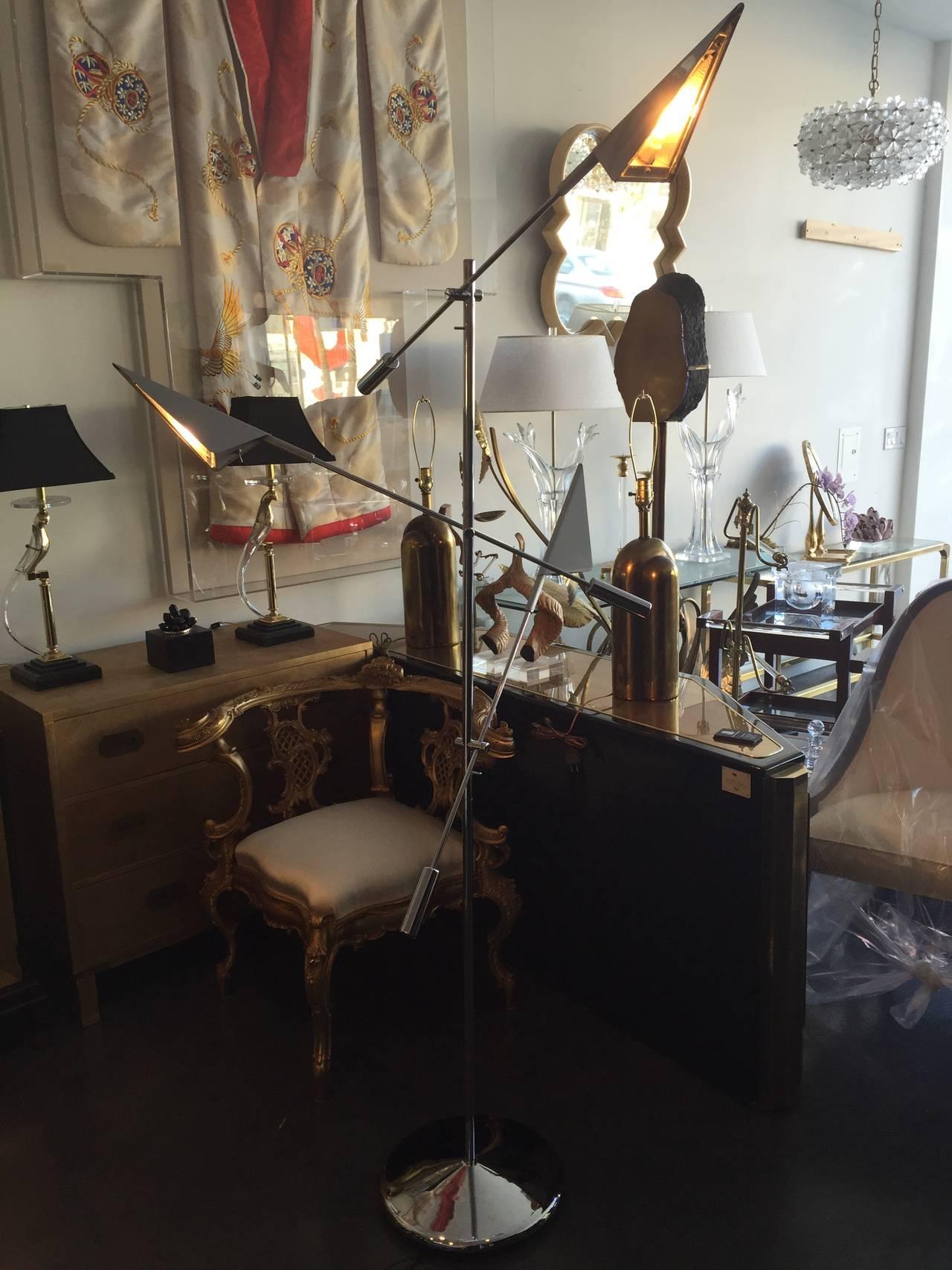 Chrome Floor Lamp by Harry Allen for Kovacs Lighting For Sale 1