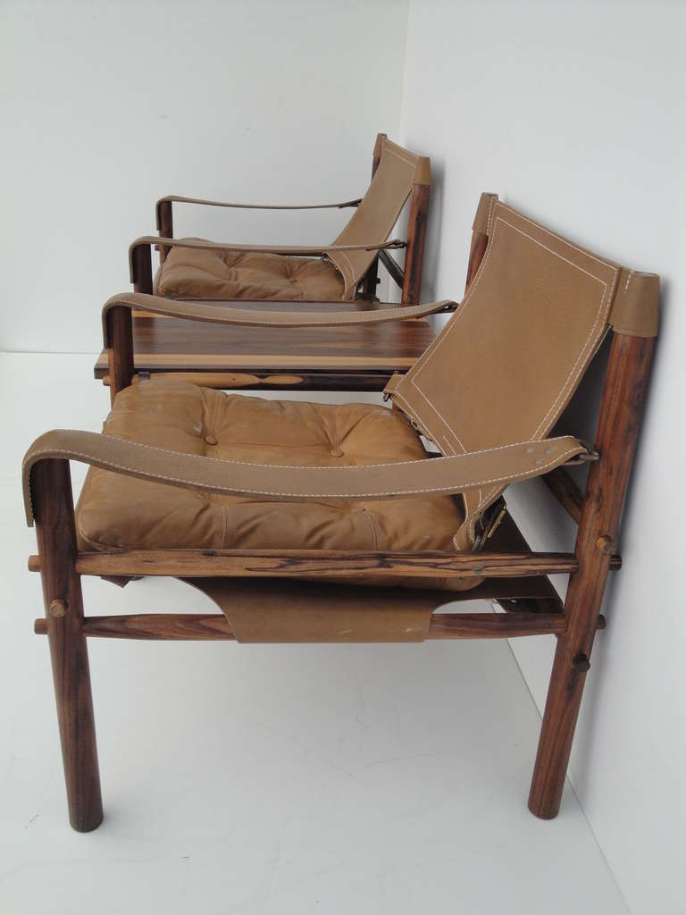 Arne Norell Rosewood Safari Lounge Chairs With Table For