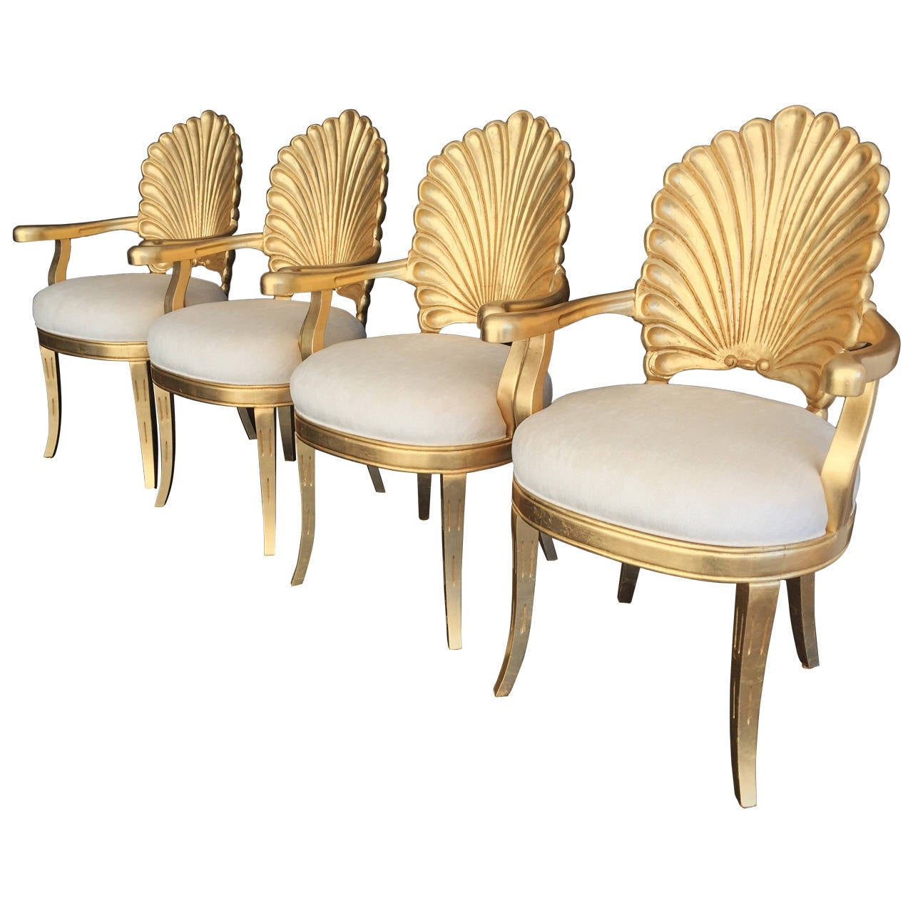 Venetian Grotto Style Shell Back Armchairs