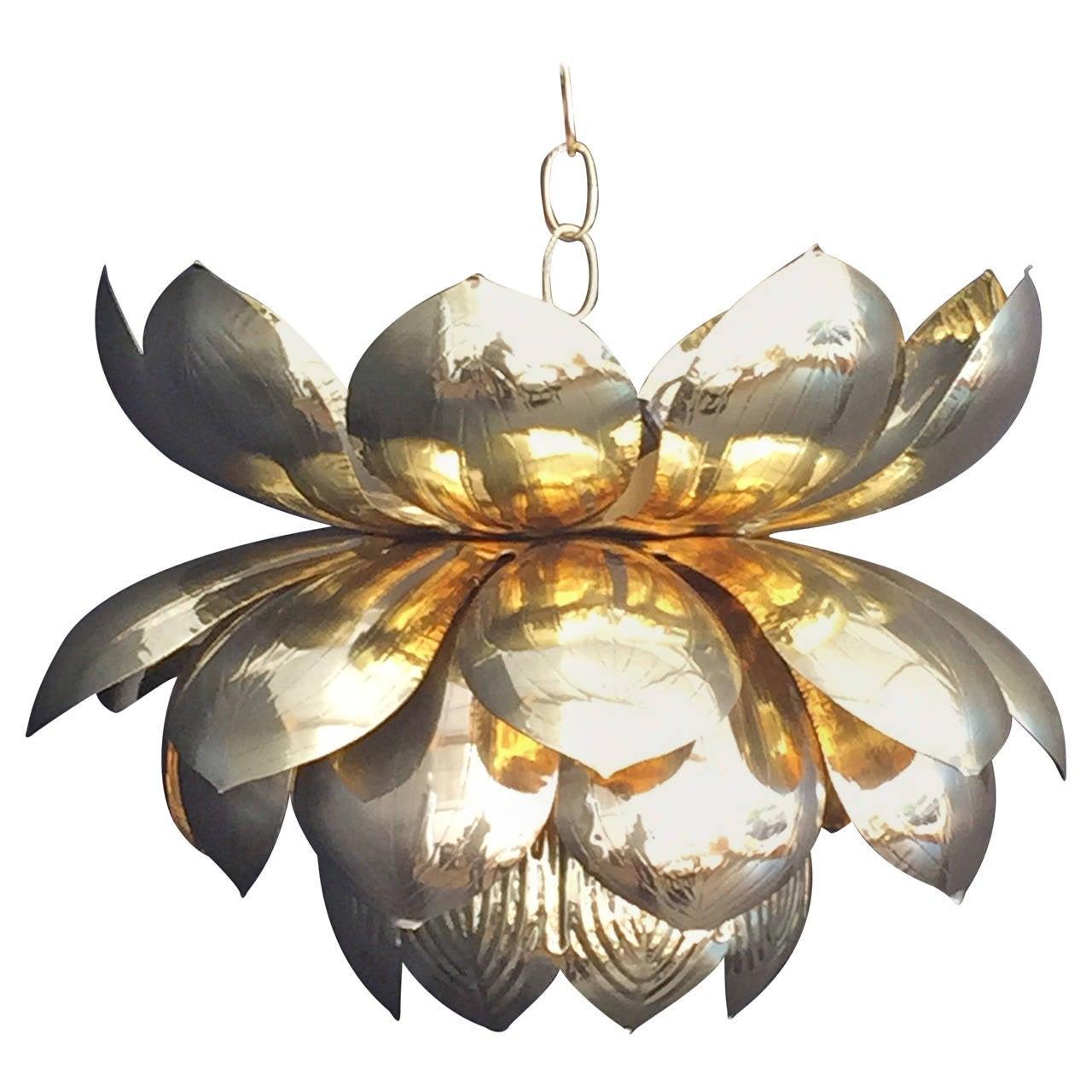 Large Brass Lotus Pendant Light by Feldman For Sale