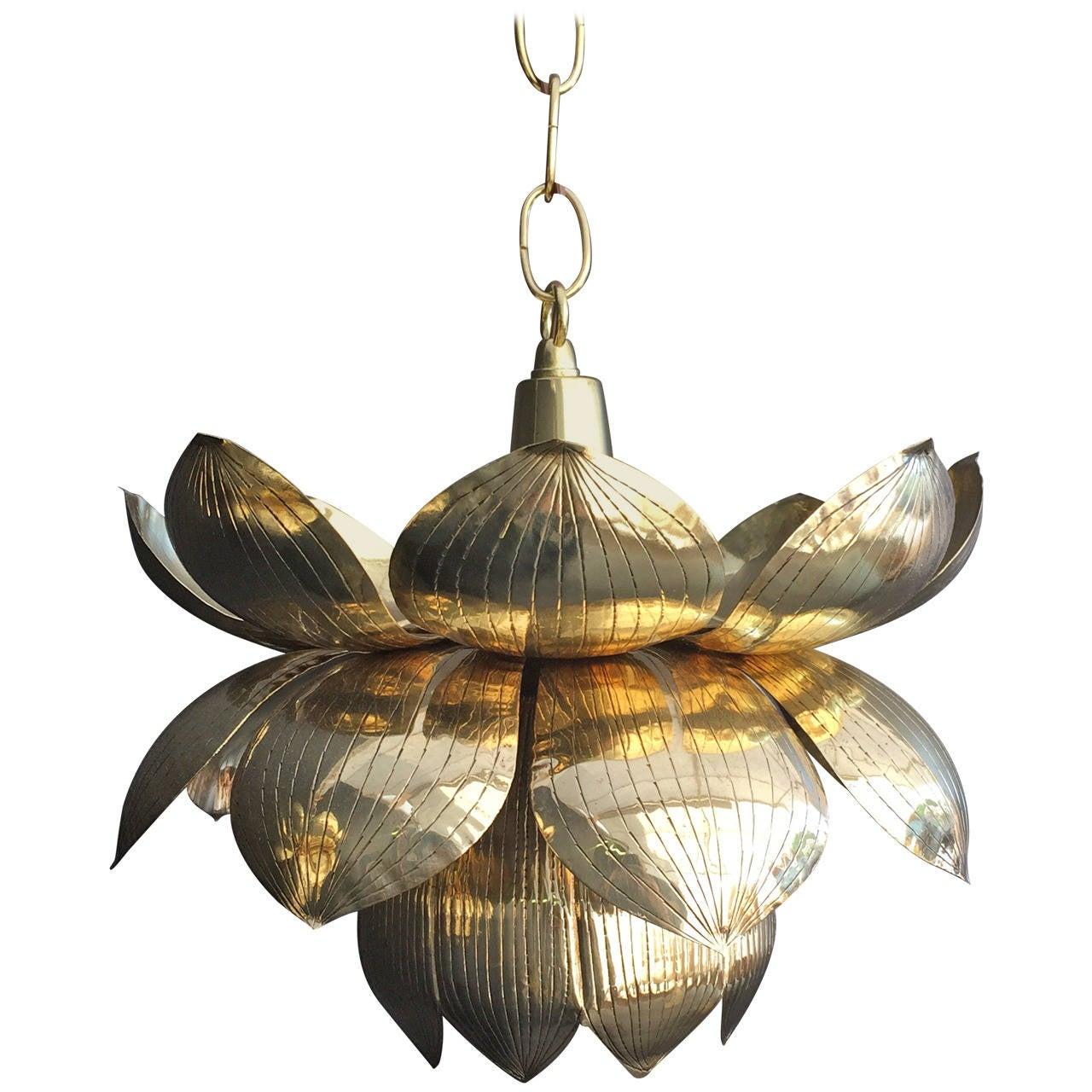 Small Brass Lotus Pendant Light By Feldman For Sale At 1stdibs