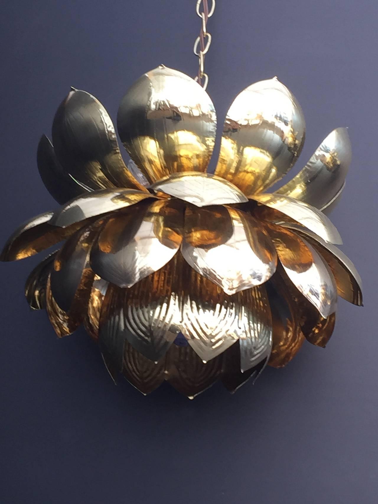 Large brass lotus pendant light by Feldman.
