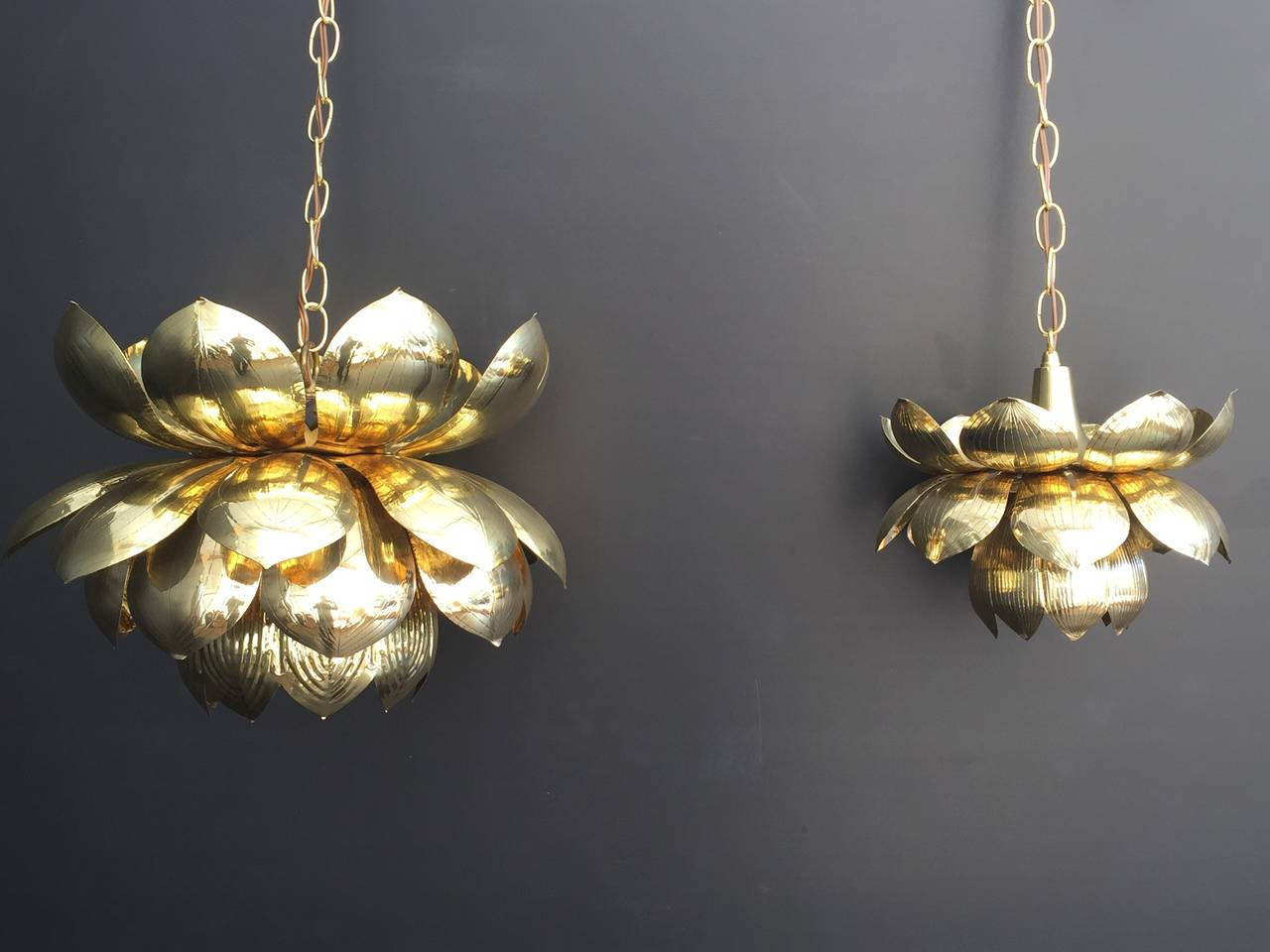 Large Brass Lotus Pendant Light by Feldman In Excellent Condition For Sale In North Hollywood, CA