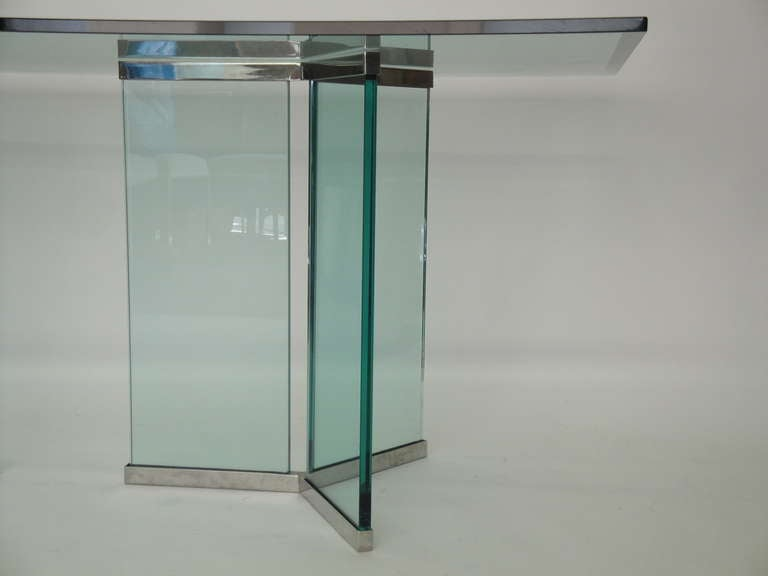 Late 20th Century Leon Rosen for Pace Collection Glass and Chrome Dining Table For Sale