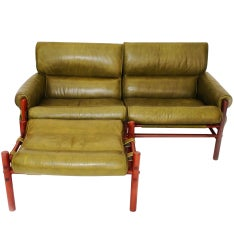 "Olive Green Arne Norell ""Kontiki"" Safari Settee and Ottoman"