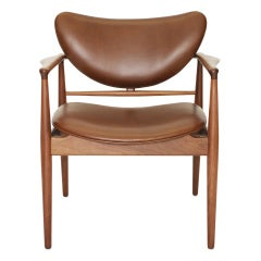 The 48 Chair by Finn Juhl for Baker in Walnut and Cognac Brown Leather