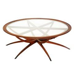 Danish Mid Century Modern Spider Leg Teak Coffee Table with Glass Top
