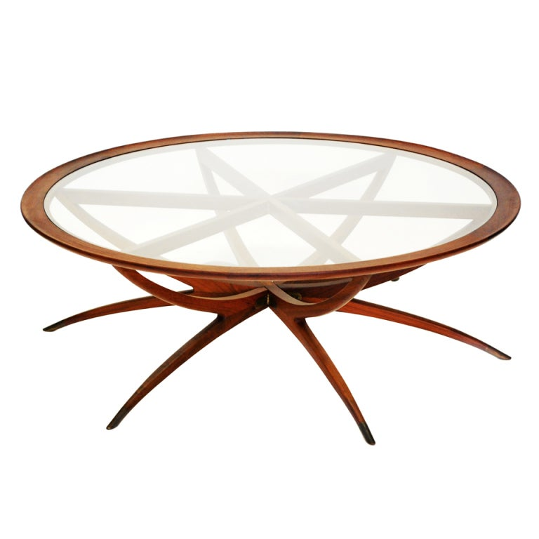 Danish Mid Century Modern Spider Leg Teak Coffee Table With Glass Top