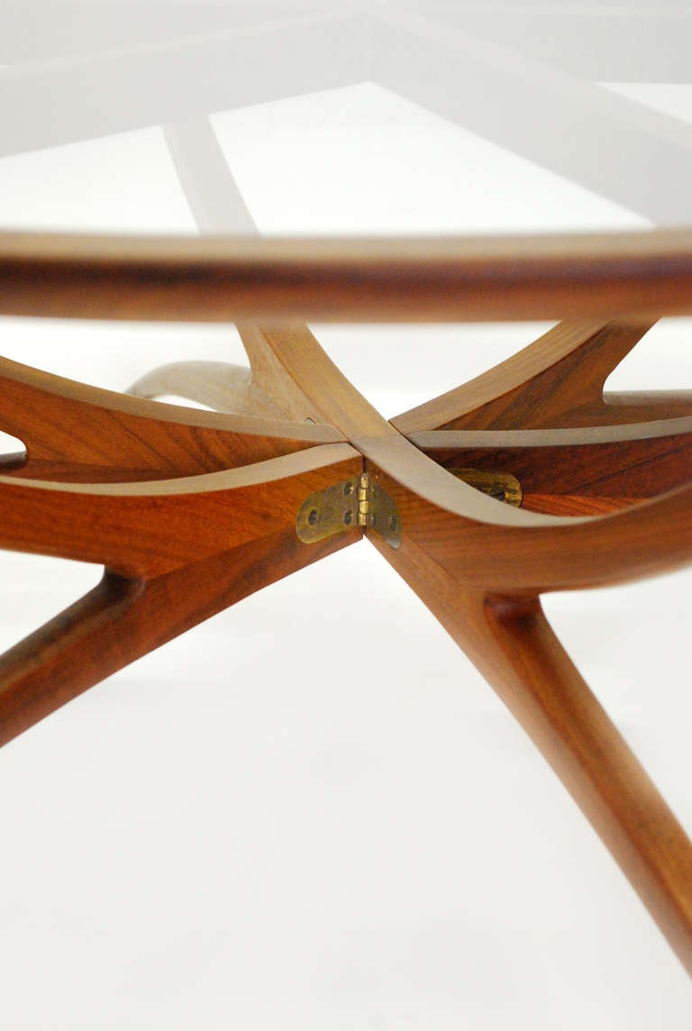 Danish Mid Century Modern Spider Leg Teak Coffee Table With Glass Top At 1stdibs