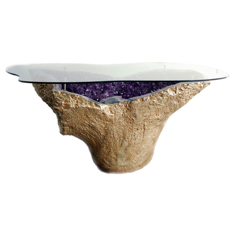 Rare vintage amethyst geode table gilded 18k gold with for Geode side table
