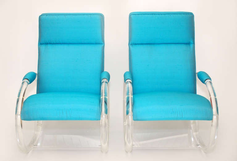 Mid-Century Modern Pair of Charles Hollis Jones Lucite Rocking Chairs For Sale