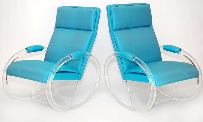 Pair of stunning Charles Hollis Jones rocking chairs with oval rockers and new beautiful turquoise raw silk upholstery. These rockers will rock a Hollywood Regency or modern space.
