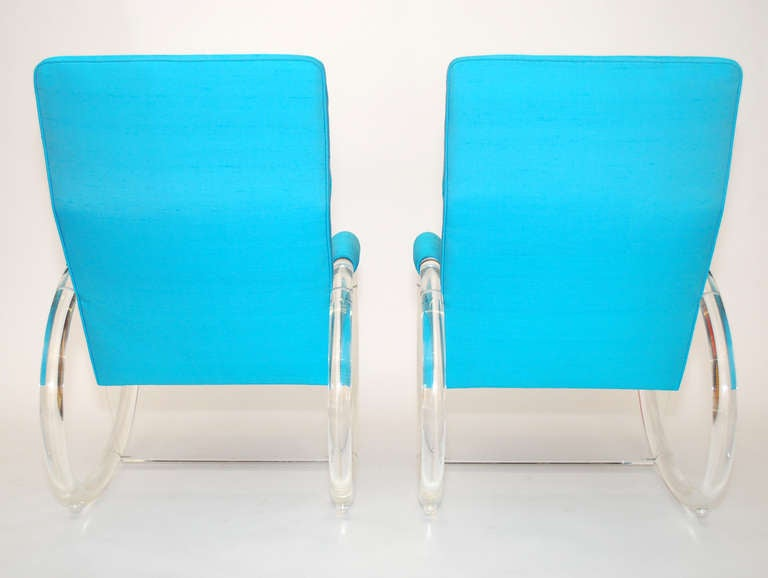 Mid-20th Century Pair of Charles Hollis Jones Lucite Rocking Chairs For Sale