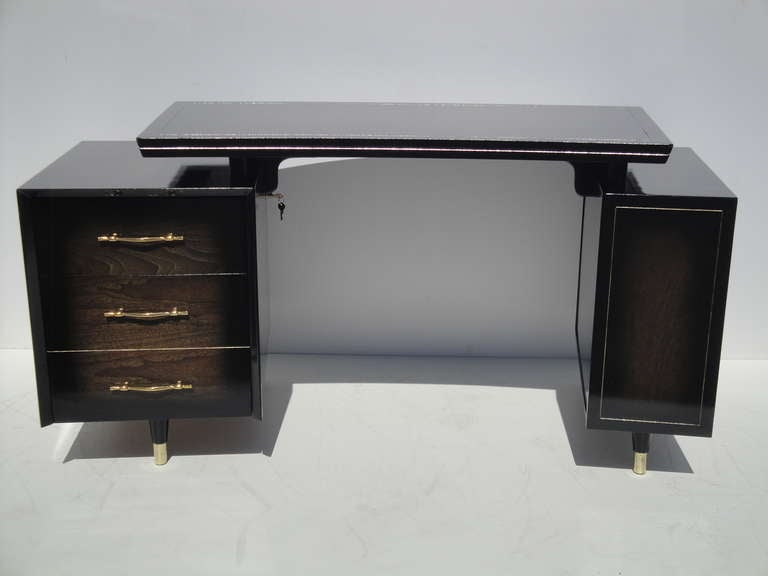 Mid century modernist curved desk with floating top for for Floating desk for sale