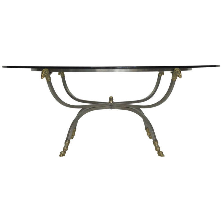 Maison Jansen Style Coffee Table With Rams Head And Hoof